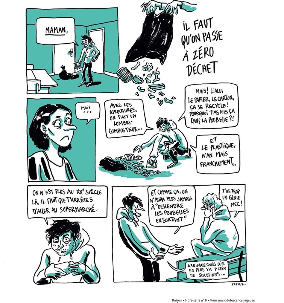 il trouve une idée de génie  aller vers le zéro déchet ! Une BD de Cécilia  Pepper publiée dans le hors,série 9 de Kaizen Pour une adolescence joyeuse.
